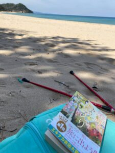 海で読書は、最高!